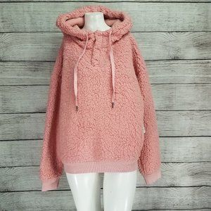 Z By Zella L Faux Shearling Pullover Hoodie Pink